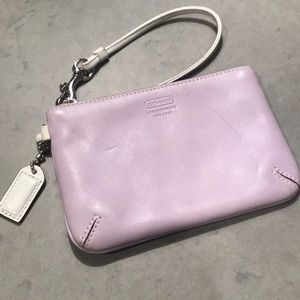 Coach wristlet in lilac and white leather